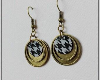 Earrings bronze sequins, retro, vintage earrings, hoop earrings