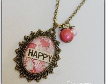 Necklace retro happy glass cabochon