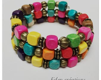 Ethnic bracelet, wooden bead, multicolored, 3 rounds, cuff