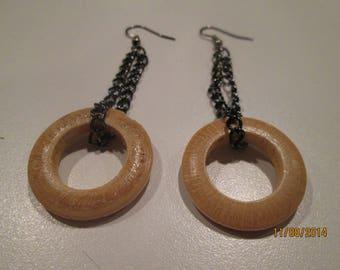 Wood and Chain Dangle Earrings