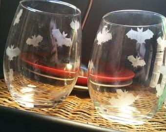 Bat etched wine glasses