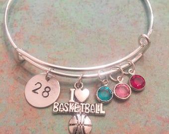 Basketball Bracelet, Basketball mom, mom bracelet, sports, silver bangle, personalized bracelet, mom, swarovski crystal