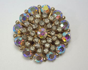 Vintage Round Cluster AB Aurora Borealis Brooch Pin