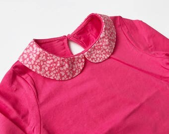 18 month - long sleeve T-shirt Liberty Glenjade Peter Pan collar
