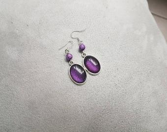 dark purple oval earring