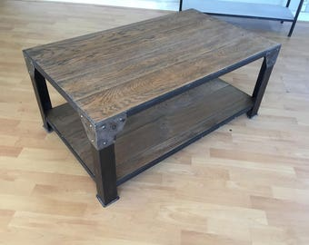 Coffee table industrial aged solid oak top