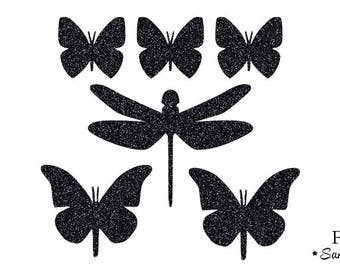 Butterfly Dragonfly shabby fusible applique