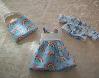 clothes for dolls 32 33 cm, with babies (dress, vest, bag) cotton print