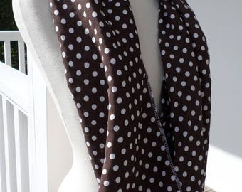 Snood tube scarf Brown and white polka dots women neck scarf