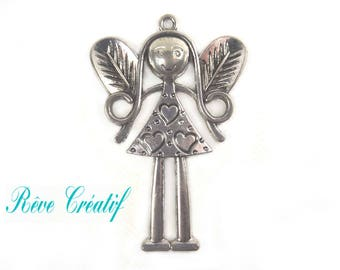 Tibetan Style Alloy Fairy LARGE Pendant, Antique Silver, 82x54x2mm, Hole: 3.5mm