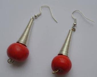 pair of red ball earrings