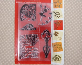 Set of stamps to mount transparent text and swirls pattern
