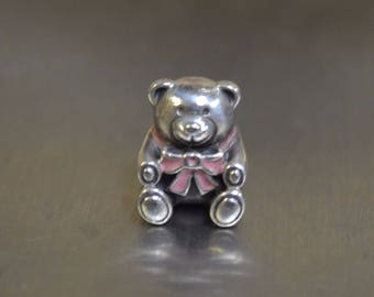 Genuine Pandora Silver and Pink Teddy Bear Charm 791124EN24