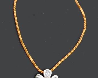 1 silk cord - orange - 45 x 0,3 cm
