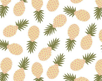 Modern Air Pineapples on White Cotton Jersey Blend Knit Fabric **UK Seller**