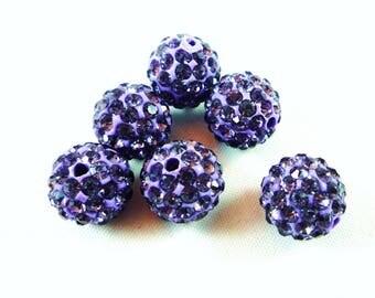 1 Pearl Shamballa 10mm purple Crystal (psh5)