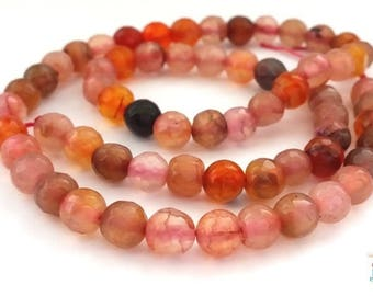 10 beads agate 6mm faceted pink/brown/orange (pg123)