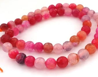 10 beads agate 6mm faceted pink/fuchsia/orange (pg124)