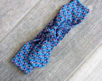 "Headband tie ""blue flower"""