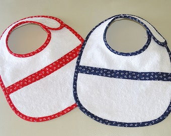 Set of 2 bibs with white velcro - sailor theme - boy and girl