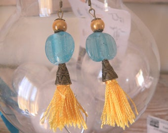 Pearl blue and yellow tassel earring