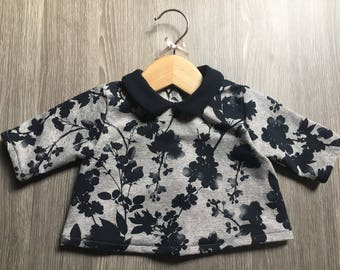 Floral Sweater collar clodine 3/4 sleeves