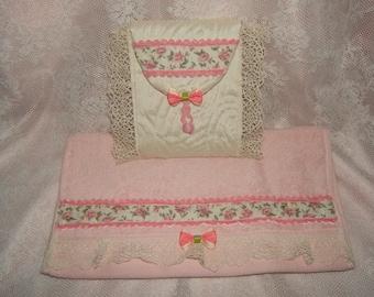 Shabby romantic feminine frills... Pocket and lace guest towel, silk