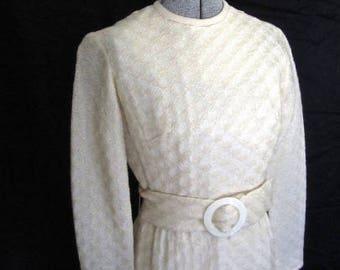 M 60s Creamy White Dress Belted Mod Woven Wool Twiggy Sheath Long Sleeves Mad Men by Parfait Originals Medium