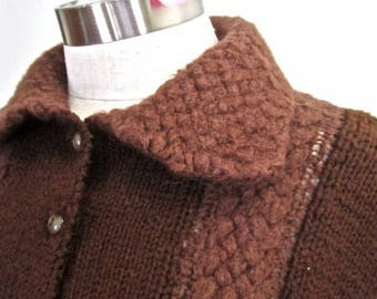 M L 50s 60s Sweater Button Down Front Jumper Wool Knit Cardigan Tab Collar Short Brown Cable Vintage Medium - Large