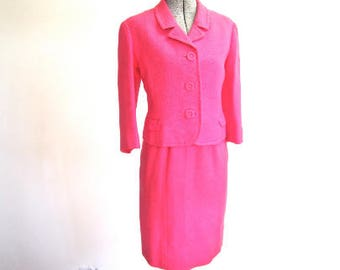 S 60s 2pc Suit Set Barbie Pink Wool Weave Jackie O Jacket Skirt Petite Small Hong Kong Mod Silk Lining Small