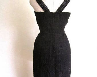 M 50s Beaded Ribbon Dress Jet Dangle Beads LBD Wiggle Sheath Sexy Cocktail Pinup TLC Medium