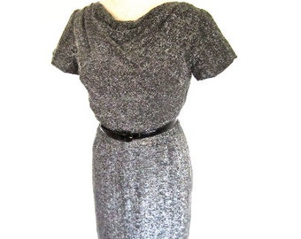 M 50s 60s Lurex Dress Cocktail Sparkle Silver Black Drape Neck Wiggle Sheath by Graceful Lady Petite Medium