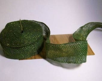 Ribbon strengthens burlap green and gold 50mm