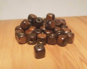 40 square 8mm Brown cube wood beads