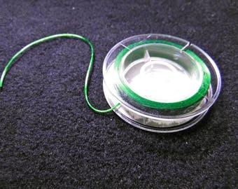 WIRE CORD GREEN SATIN SILICONE - 10 M - GREEN ELASTIC FIBER THREAD