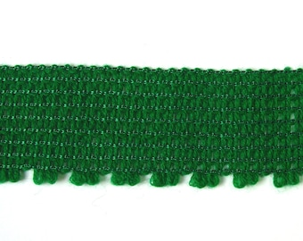 Acrylic knit Ribbon, 50 mm, green, sold by the yard.