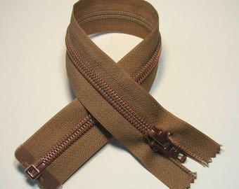 Zipper closure, 33 cm, beige, detachable, plastic mesh bronze 7 mm.