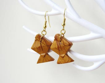 Origami fish color earrings gold polymer clay