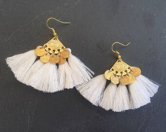 Golden Gypsy earrings, white pompons and sequins