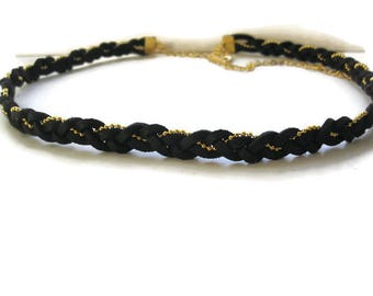Headband Braided Black Suede and gold chain.