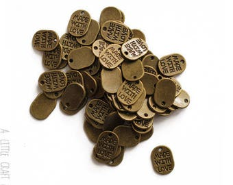 """50 charms """"made with love 2"""" - bronze"""