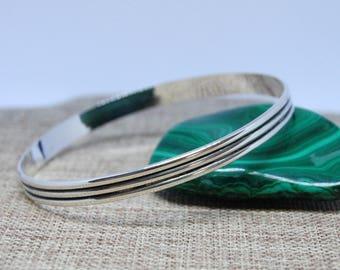 Sterling Silver Patterned Bangle Bracelet