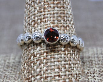 Faceted Garnet and Sterling Silver Ring size 11