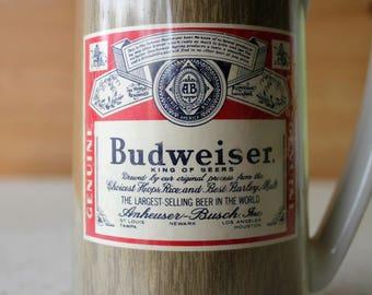 Budweiser Insulated Beer Stein Termo-Serv Vintage Barware