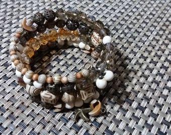 Bracelet - crystals, seed, filigree beads