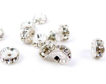 10 x Swarovski crystal silver 5mm connectors