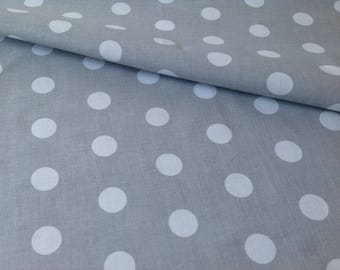 Printed fabric 100% cotton white polka dots