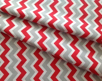 New - Printed fabric 100% cotton white zigzag
