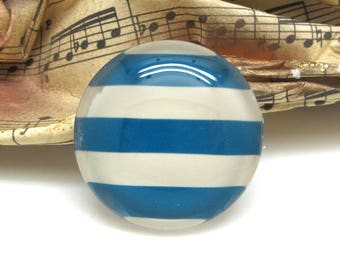 2 cabochons glass spirit sailor striped Blue 10 mm - 10 mm