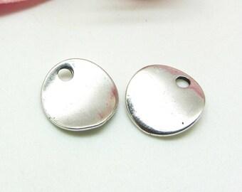 6 charms 13 mm pellets Ondulees Metal Silver - 13 mm